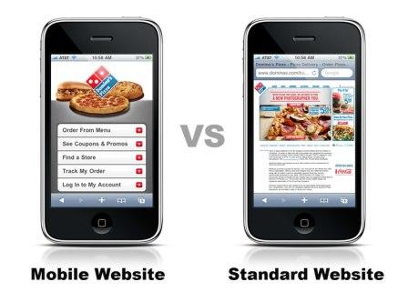 Comparison between a Website for Mobile devices and a Website fore Desktop computers